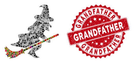 Mosaic flying witch and corroded stamp seal with Grandfather caption. Mosaic vector is composed with flying witch icon and with random circle spots. Grandfather stamp seal uses red color,