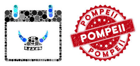 Mosaic horned helmet calendar day and grunge stamp seal with Pompeii caption. Mosaic vector is formed with horned helmet calendar day icon and with random round items. Pompeii seal uses red color, Vettoriali