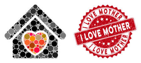 Mosaic hospice and corroded stamp seal with I Love Mother text. Mosaic vector is designed from hospice icon and with scattered round elements. I Love Mother stamp seal uses red color,