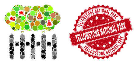 Mosaic garden and corroded stamp seal with Yellowstone National Park phrase. Mosaic vector is designed with garden icon and with randomized circle spots. Illusztráció