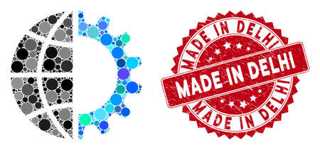 Mosaic global industry and rubber stamp seal with Made in Delhi text. Mosaic vector is created with global industry icon and with scattered circle items. Made in Delhi stamp seal uses red color,