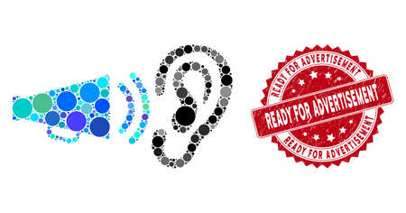 Collage listen megaphone news and rubber stamp seal with Ready for Advertisement text. Mosaic vector is created with listen megaphone news icon and with random circle spots.  イラスト・ベクター素材