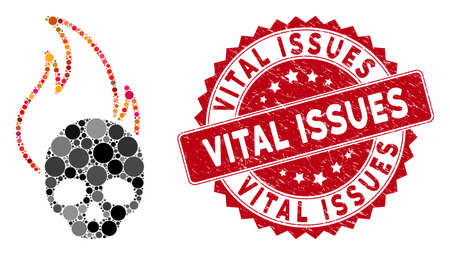 Mosaic hell fire and grunge stamp seal with Vital Issues caption. Mosaic vector is created with hell fire icon and with random spheric spots. Vital Issues stamp seal uses red color,