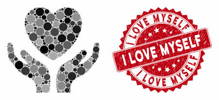 Mosaic love heart care hands and corroded stamp seal with I Love Myself caption. Mosaic vector is formed with love heart care hands icon and with random round spots.