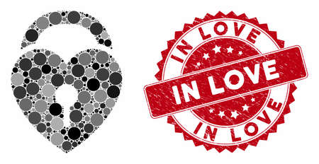 Mosaic love heart lock and distressed stamp watermark with In Love text. Mosaic vector is created with love heart lock icon and with randomized spheric items. In Love stamp uses red color,
