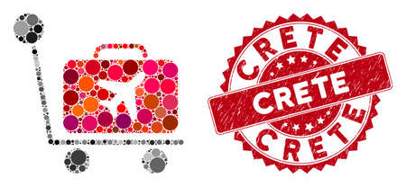 Mosaic luggage trolley and distressed stamp seal with Crete caption. Mosaic vector is created with luggage trolley icon and with randomized round elements. Crete stamp seal uses red color,