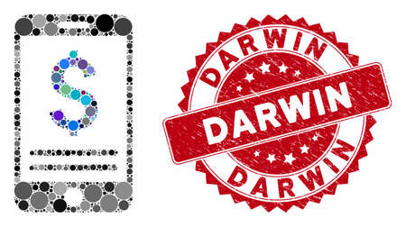 Mosaic mobile banking and distressed stamp watermark with Darwin text. Mosaic vector is formed with mobile banking icon and with randomized circle elements. Darwin stamp seal uses red color, 向量圖像