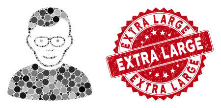 Mosaic pensioner and distressed stamp seal with Extra Large phrase. Mosaic vector is composed with pensioner icon and with random circle spots. Extra Large seal uses red color, and rubber surface.