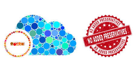 Mosaic remove and rubber stamp seal with No Added Preservatives phrase. Mosaic vector is created with remove icon and with randomized spheric elements. No Added Preservatives seal uses red color,