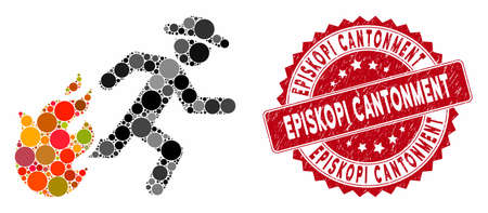 Mosaic running man from fire and corroded stamp seal with Episkopi Cantonment phrase. Mosaic vector is composed with running man from fire icon and with scattered round items. Illustration