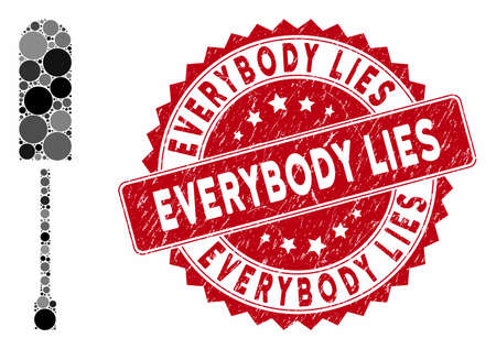 Collage screwdriver and rubber stamp seal with Everybody Lies caption. Mosaic vector is composed with screwdriver icon and with randomized circle items. Everybody Lies stamp seal uses red color,