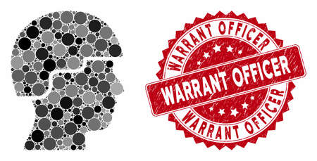 Collage soldier and distressed stamp seal with Warrant Officer phrase. Mosaic vector is formed with soldier icon and with randomized spheric spots. Warrant Officer stamp seal uses red color, Illustration