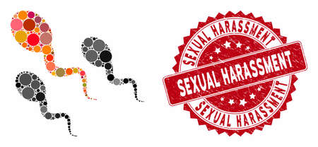Mosaic sperm and corroded stamp seal with Sexual Harassment text. Mosaic vector is composed with sperm icon and with randomized circle items. Sexual Harassment stamp seal uses red color,