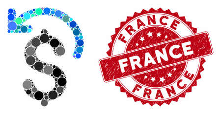 Mosaic undo payment and rubber stamp seal with France caption. Mosaic vector is designed with undo payment icon and with randomized circle elements. France seal uses red color, and rubber surface.