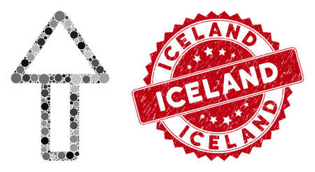 Mosaic up arrow and corroded stamp seal with Iceland phrase. Mosaic vector is formed with up arrow icon and with randomized round elements. Iceland seal uses red color, and rubber design.