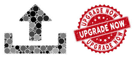 Mosaic upload and corroded stamp seal with Upgrade Now caption. Mosaic vector is designed with upload icon and with randomized spheric items. Upgrade Now stamp seal uses red color,