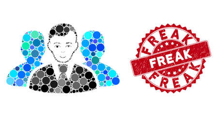 Mosaic user group and rubber stamp seal with Freak caption. Mosaic vector is created with user group icon and with scattered circle spots. Freak stamp seal uses red color, and distress surface.