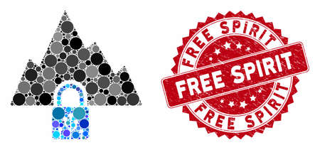 Mosaic VPN tunnel and distressed stamp seal with Free Spirit caption. Mosaic vector is composed with VPN tunnel icon and with random spheric elements. Free Spirit stamp seal uses red color, 向量圖像