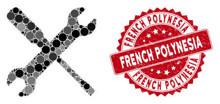 Mosaic wrench and screwdriver tools and grunge stamp seal with French Polynesia caption. Mosaic vector is composed with wrench and screwdriver tools icon and with random spheric spots.