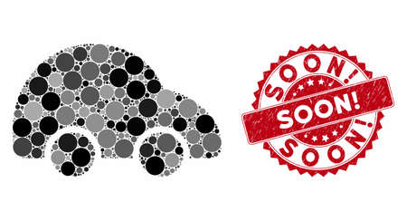 Mosaic car and rubber stamp seal with Soon! text. Mosaic vector is composed with car icon and with randomized circle spots. Soon! stamp seal uses red color, and rubber design.