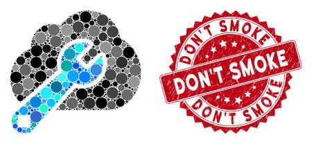 Mosaic cloud options and grunge stamp seal with Don'T Smoke phrase. Mosaic vector is formed with cloud options icon and with scattered round elements. Don'T Smoke stamp seal uses red color,