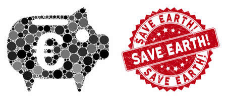 Mosaic Euro piggy bank and distressed stamp seal with Save Earth! phrase. Mosaic vector is designed with Euro piggy bank icon and with random spheric elements. Save Earth! stamp seal uses red color,