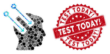 Mosaic neural interface and rubber stamp watermark with Test Today! phrase. Mosaic vector is created with neural interface icon and with randomized circle spots. Test Today! stamp uses red color,