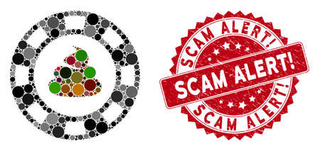 Collage shit casino chip and distressed stamp seal with Scam Alert! caption. Mosaic vector is designed with shit casino chip icon and with random round items. Scam Alert! stamp seal uses red color,