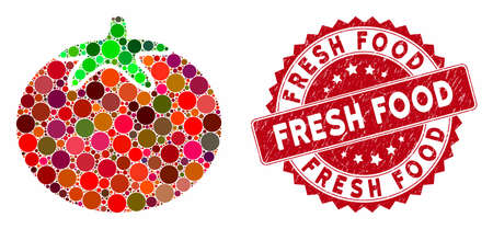 Mosaic tomato vegetable and rubber stamp watermark with Fresh Food text. Mosaic vector is created with tomato vegetable icon and with scattered round items. Fresh Food stamp seal uses red color, Vektorgrafik