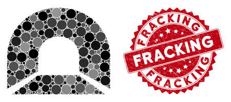 Mosaic tunnel and grunge stamp watermark with Fracking caption. Mosaic vector is designed with tunnel icon and with scattered spheric elements. Fracking stamp seal uses red color, and grunge texture.