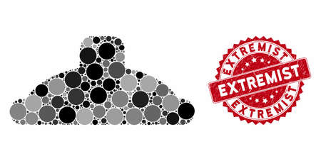 Mosaic shower head and rubber stamp seal with Extremist text. Mosaic vector is formed with shower head icon and with randomized spheric spots. Extremist seal uses red color, and grunged design.