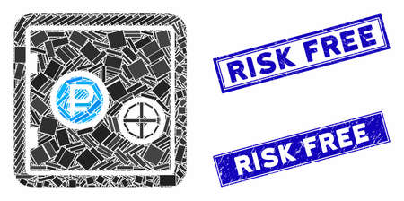 Mosaic rouble bank safe pictogram and rectangle rubber prints. Flat vector rouble bank safe mosaic pictogram of randomized rotated rectangle elements. Blue caption rubber seals with grunge surface. Иллюстрация