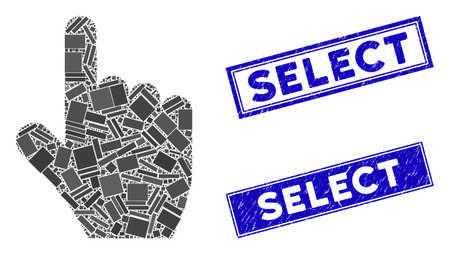 Mosaic select gesture icon and rectangular seal stamps. Flat vector select gesture mosaic icon of randomized rotated rectangular elements. Blue caption seal stamps with distress texture.