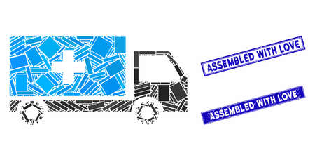 Mosaic service car icon and rectangle stamps. Flat vector service car mosaic icon of random rotated rectangle elements. Blue caption rubber seals with distress textures.