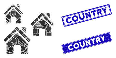 Mosaic village buildings icon and rectangle seals. Flat vector village buildings mosaic icon of random rotated rectangle items. Blue caption seal stamps with dirty textures. Illustration