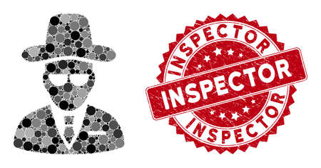 Mosaic agent and rubber stamp seal with Inspector text. Mosaic vector is composed with agent icon and with random round elements. Inspector stamp seal uses red color, and rubber surface.
