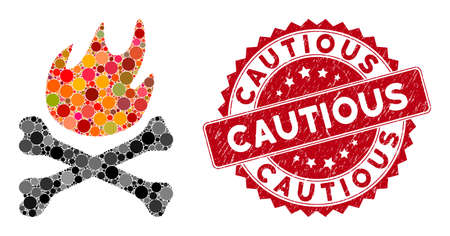 Mosaic bones hell fire and rubber stamp watermark with Cautious text. Mosaic vector is created with bones hell fire icon and with randomized round spots. Cautious stamp uses red color,