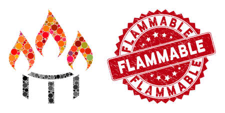 Mosaic burner nozzle fire and grunge stamp watermark with Flammable text. Mosaic vector is created with burner nozzle fire icon and with scattered spheric elements. Vector Illustration