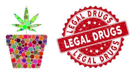 Mosaic cannabis pot and grunge stamp seal with Legal Drugs phrase. Mosaic vector is composed with cannabis pot icon and with randomized circle elements. Legal Drugs stamp uses red color,