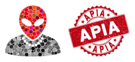 Mosaic humanoid and grunge stamp seal with Apia text. Mosaic vector is created with humanoid icon and with randomized spheric items. Apia stamp uses red color, and grunge design.