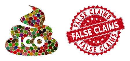 Mosaic ICO shit and corroded stamp seal with False Claims caption. Mosaic vector is designed with ICO shit icon and with random round elements. False Claims stamp uses red color, and grunge surface.