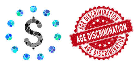 Mosaic dollar sign and grunge stamp seal with Age Discrimination caption. Mosaic vector is created with dollar sign icon and with random circle spots. Age Discrimination stamp uses red color, Illustration