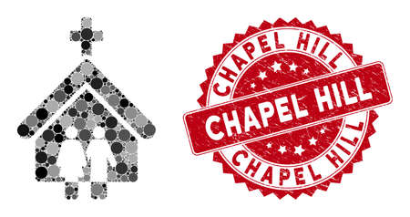 Collage family church and grunge stamp watermark with Chapel Hill phrase. Mosaic vector is formed with family church icon and with randomized circle items. Chapel Hill stamp seal uses red color, Çizim