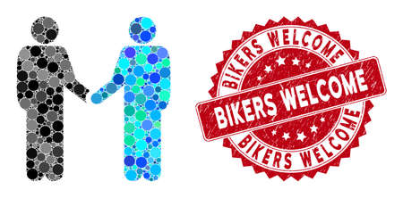 Mosaic friends handshake and rubber stamp seal with Bikers Welcome text. Mosaic vector is created with friends handshake icon and with scattered circle spots. Bikers Welcome seal uses red color,