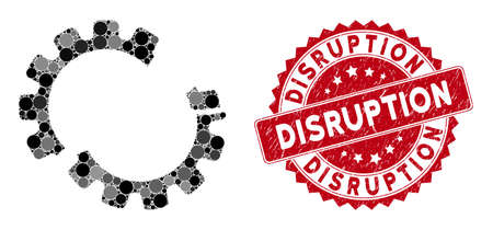 Collage gear crash and distressed stamp seal with Disruption phrase. Mosaic vector is created with gear crash icon and with random round spots. Disruption stamp seal uses red color,