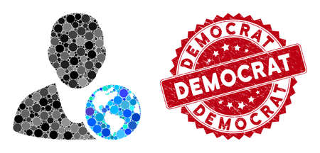 Mosaic international manager and grunge stamp seal with Democrat text. Mosaic vector is designed with international manager icon and with random spheric elements. Democrat stamp seal uses red color,