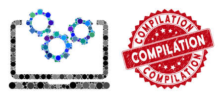 Mosaic laptop and gears and distressed stamp seal with Compilation text. Mosaic vector is composed with laptop and gears icon and with scattered circle items. Compilation stamp seal uses red color,