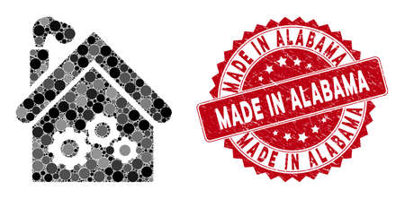 Mosaic plant building and grunge stamp seal with Made in Alabama caption. Mosaic vector is designed with plant building icon and with random round elements. Made in Alabama stamp seal uses red color, Standard-Bild - 134506452