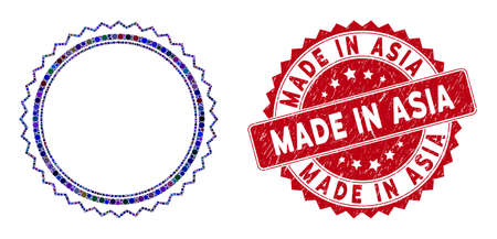 Collage rosette seal frame and distressed stamp seal with Made in Asia phrase. Mosaic vector is formed with rosette seal frame icon and with scattered round spots.