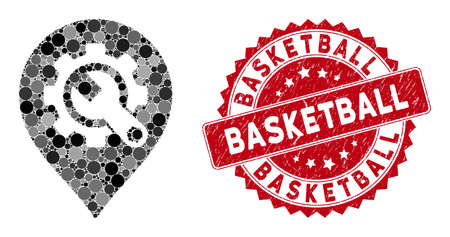 Mosaic service tools map marker and grunge stamp seal with Basketball caption. Mosaic vector is created with service tools map marker icon and with randomized circle items. Stockfoto - 134637590